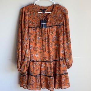 NWT Forever 21 orange floral peasant boho dress